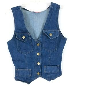 Tops - Vtg denim jean vest top 70's hippie boho groovy